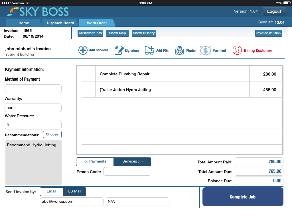 Contractor Accounting Software For Invoice Work Orders SkyBoss - What is the best invoice app for ipad for service business