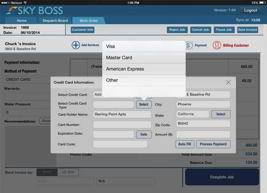 Painting Contractor Software For Business Service Management SkyBoss - Invoice for painting services