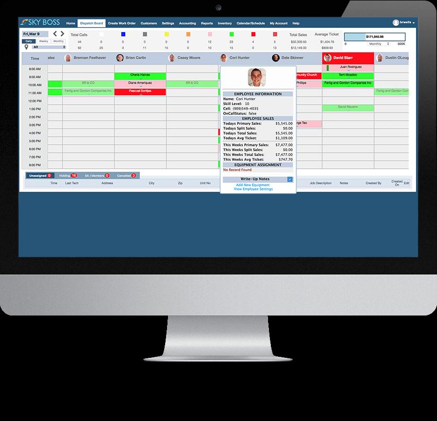 SkyBoss web dispatch board